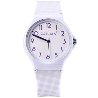 Willis Pure Color Women Quartz Watch with Plastic StrapWomens Watches<br>Willis Pure Color Women Quartz Watch with Plastic Strap<br><br>Available Color: White, Blue, Purple, Aqua Green<br>Band material: Plastic<br>Brand: Winner<br>Case material: Plastic<br>Clasp type: Pin buckle<br>Display type: Analog<br>Movement type: Quartz watch<br>Package Contents: 1 x Willis Watch<br>Package size (L x W x H): 26 x 5 x 1.8 cm / 10.22 x 1.97 x 0.71 inches<br>Package weight: 0.073 kg<br>Product size (L x W x H): 25 x 4 x 0.8 cm / 9.83 x 1.57 x 0.31 inches<br>Product weight: 0.023 kg<br>Shape of the dial: Round<br>Style: Fashion&amp;Casual<br>The band width: 1.7 cm / 0.67 inches<br>The dial diameter: 4.0 cm / 1.57 inches<br>The dial thickness: 0.8 cm / 0.31 inches<br>Watches categories: Female table<br>Wearable length: 16.5 - 20.5 cm / 6.50 - 8.07 inches