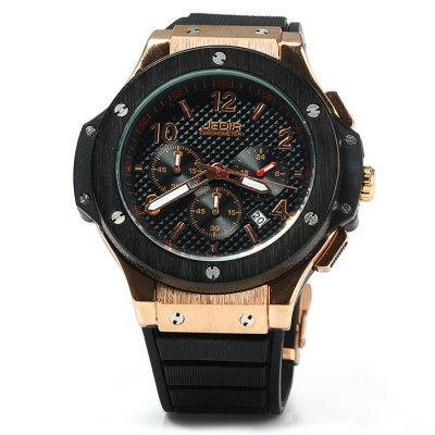 JEDIR 3002 Men Quartz WatchMens Watches<br>JEDIR 3002 Men Quartz Watch<br><br>Band material: Rubber<br>Brand: JEDIR<br>Case material: Stainless Steel<br>Clasp type: Pin buckle<br>Display type: Analog<br>Movement type: Quartz watch<br>Package Contents: 1 x JEDIR 3002 Watch<br>Package size (L x W x H): 29 x 6 x 2.3 cm / 11.40 x 2.36 x 0.90 inches<br>Package weight: 0.185 kg<br>Product size (L x W x H): 28 x 5 x 1.3 cm / 11.00 x 1.97 x 0.51 inches<br>Product weight: 0.135 kg<br>Shape of the dial: Round<br>Special features: Date, Moving small three stitches<br>The band width: 2.0 cm / 0.79 inches<br>The dial diameter: 5.0 cm / 1.97 inches<br>The dial thickness: 1.3 cm / 0.51 inches<br>Watch color: Black, Brown, Black and Golden, Black and Silver<br>Watch style: Business<br>Watches categories: Male table<br>Water resistance : 30 meters