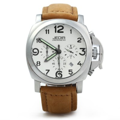 JEDIR 3406 Men Quartz WatchMens Watches<br>JEDIR 3406 Men Quartz Watch<br><br>Available Color: Deep Brown,Light Coffee<br>Band material: Genuine Leather<br>Brand: JEDIR<br>Case material: Stainless Steel<br>Clasp type: Pin buckle<br>Display type: Analog<br>Movement type: Quartz watch<br>Package Contents: 1 x JEDIR 3406 Watch<br>Package size (L x W x H): 27 x 6 x 2.2 cm / 10.61 x 2.36 x 0.86 inches<br>Package weight: 0.141 kg<br>Product size (L x W x H): 26 x 5 x 1.2 cm / 10.22 x 1.97 x 0.47 inches<br>Product weight: 0.091 kg<br>Shape of the dial: Round<br>Special features: Moving small three stitches, Date<br>The band width: 2.0 cm / 0.79 inches<br>The dial diameter: 5.0 cm / 1.97 inches<br>The dial thickness: 1.2 cm / 0.47 inches<br>Watch style: Business<br>Watches categories: Male table<br>Water resistance : 30 meters<br>Wearable length: 17 - 21 cm / 6.69 - 8.27 inches