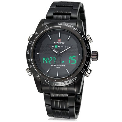 Naviforce 3681 Men LED Dual Movt Sports WatchSports Watches<br>Naviforce 3681 Men LED Dual Movt Sports Watch<br><br>Band material: Alloys<br>Brand: Naviforce<br>Case material: Alloy<br>Clasp type: Folding clasp with safety<br>Display type: Analog-Digital<br>Hour formats: 12/24 Hour<br>Movement type: Double-movtz<br>Package Contents: 1 x Naviforce 3681 Watch<br>Package size (L x W x H): 27.1 x 5.6 x 2.6 cm / 10.65 x 2.20 x 1.02 inches<br>Package weight: 0.224 kg<br>People: Male table<br>Product size (L x W x H): 26.1 x 4.6 x 1.6 cm / 10.26 x 1.81 x 0.63 inches<br>Product weight: 0.174 kg<br>Shape of the dial: Round<br>Special features: Alarm Clock, Stopwatch, Date, Day<br>The band width: 2.2 cm / 0.86 inches<br>The dial diameter: 4.6 cm / 1.81 inches<br>The dial thickness: 1.6 cm / 0.63 inches<br>Watch color: Black, Black and Red, Black and Orange, Silver, Silver and Red, Silver and Orange<br>Watch style: Outdoor Sports, LED<br>Water resistance : 30 meters