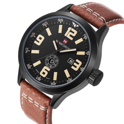 Naviforce 3682 Day Date Display Men Quartz WatchMens Watches<br>Naviforce 3682 Day Date Display Men Quartz Watch<br><br>Available Color: Black,Red,Brown,Orange<br>Band material: Genuine Leather<br>Brand: Naviforce<br>Case material: Alloy<br>Clasp type: Pin buckle<br>Display type: Analog<br>Movement type: Quartz watch<br>Package Contents: 1 x Naviforce 3682 Watch<br>Package size (L x W x H): 27.10 x 5.60 x 2.20 cm / 10.67 x 2.2 x 0.87 inches<br>Package weight: 0.2200 kg<br>Product size (L x W x H): 26.10 x 4.60 x 1.20 cm / 10.28 x 1.81 x 0.47 inches<br>Shape of the dial: Round<br>Special features: Day, Date<br>The band width: 2.2 cm / 0.87 inches<br>The dial diameter: 4.6 cm / 1.81 inches<br>The dial thickness: 1.2 cm / 0.47 inches<br>Watch style: Fashion<br>Watches categories: Male table<br>Water resistance : 30 meters