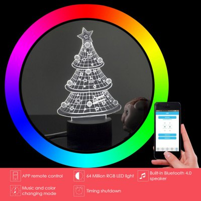 Smart 3D Desk Lamp Bluetooth 4.0 SpeakerSmart Lighting<br>Smart 3D Desk Lamp Bluetooth 4.0 Speaker<br><br>Bluetooth Version: 4.0<br>Function: Wall Mounted, Outdoor Rated, Home Lighting<br>Package Contents: 1 x 3D Table Lamp, 1 x Lamp Base, 1 x USB Cable<br>Package Size ( L x W x H ): 30.00 x 20.00 x 10.00 cm / 11.81 x 7.87 x 3.94 inches<br>Package weight: 0.4200 kg<br>Power: 3W<br>Product Size  ( L x W x H ): 23.00 x 14.50 x 9.80 cm / 9.06 x 5.71 x 3.86 inches<br>Product weight: 0.3000 kg<br>Remote Control Distance: 10m<br>Voltage: DC 5V