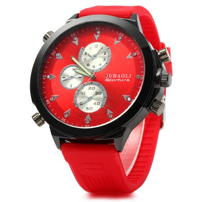 Jubaoli Men Quartz Watch with Rubber Band Big DialMens Watches<br>Jubaoli Men Quartz Watch with Rubber Band Big Dial<br><br>Band material: Rubber<br>Brand: Jubaoli<br>Case material: Stainless Steel<br>Clasp type: Pin buckle<br>Display type: Analog<br>Movement type: Quartz watch<br>Package Contents: 1 x Jubaoli Watch<br>Package size (L x W x H): 28 x 7 x 2 cm / 11.00 x 2.75 x 0.79 inches<br>Package weight: 0.137 kg<br>Product size (L x W x H): 27 x 6 x 1 cm / 10.61 x 2.36 x 0.39 inches<br>Product weight: 0.087 kg<br>Shape of the dial: Round<br>Special features: Decorating small sub-dials<br>Style elements: Big dial<br>The band width: 2.0 cm / 0.79 inches<br>The dial diameter: 6.0 cm / 2.36 inches<br>The dial thickness: 1.0 cm / 0.39 inches<br>Watch style: Fashion<br>Watches categories: Male table<br>Wearable length: 18 - 24 cm / 7.09 - 9.45 inches