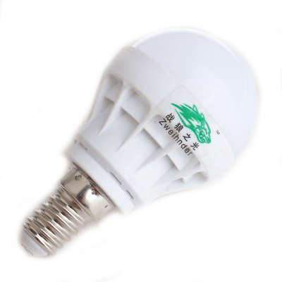 2 x Zweihnder E14 3W 300Lm SMD 5730 LED Light BulbGlobe bulbs<br>2 x Zweihnder E14 3W 300Lm SMD 5730 LED Light Bulb<br><br>Angle: 180 degree<br>Available Light Color: White,Warm White<br>Brand: Zweihnder<br>CCT/Wavelength: 3000-3500K,5500-6000K<br>Emitter Types: SMD 5730<br>Features: Long Life Expectancy, Energy Saving<br>Function: Studio and Exhibition Lighting, Commercial Lighting, Home Lighting<br>Holder: E14<br>Luminous Flux: 300Lm<br>Output Power: 3W<br>Package Contents: 2 x Zweihnder LED Light Bulb<br>Package size (L x W x H): 9.5 x 10.5 x 5.8 cm / 3.73 x 4.13 x 2.28 inches<br>Package weight: 0.070 kg<br>Product size (L x W x H): 8.5 x 4.8 x 4.8 cm / 3.34 x 1.89 x 1.89 inches<br>Product weight: 0.020 kg<br>Sheathing Material: Plastic<br>Total Emitters: 5<br>Type: Ball Bulbs<br>Voltage (V): AC 170-240