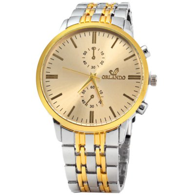 Orlando Z400 Golden Case Quartz Watch for MenMens Watches<br>Orlando Z400 Golden Case Quartz Watch for Men<br><br>Available Color: Black,White,Gold<br>Band material: Stainless Steel<br>Brand: Orlando<br>Case material: Stainless Steel<br>Clasp type: Folding clasp with safety<br>Display type: Analog<br>Movement type: Quartz watch<br>Package Contents: 1 x Orlando Z400 Watch<br>Package size (L x W x H): 21 x 5.2 x 2 cm / 8.25 x 2.04 x 0.79 inches<br>Package weight: 0.132 kg<br>Product size (L x W x H): 20 x 4.2 x 1 cm / 7.86 x 1.65 x 0.39 inches<br>Product weight: 0.082 kg<br>Shape of the dial: Round<br>Special features: Decorating small sub-dials<br>The band width: 2.0 cm / 0.79 inches<br>The dial diameter: 4.2 cm / 1.65 inches<br>The dial thickness: 1.0 cm / 0.39 inches<br>Watch style: Business<br>Watches categories: Male table