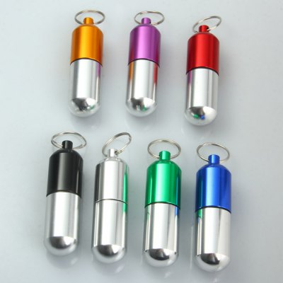 Aluminum Alloy Water Resistant Pill Box with Key Ring