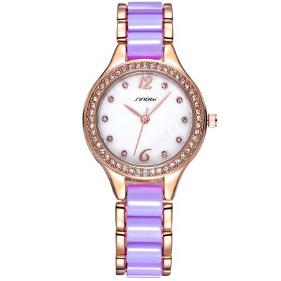 Sinobi 2679 Japan Quartz Watch with Shell Dial Ceramic + Alloy BandWomens Watches<br>Sinobi 2679 Japan Quartz Watch with Shell Dial Ceramic + Alloy Band<br><br>Available Color: Pink,White,Blue,Purple<br>Band material: Ceramic + alloy<br>Brand: Sinobi<br>Case material: Alloy<br>Clasp type: Folding clasp with safety<br>Display type: Analog<br>Movement type: Quartz watch<br>Package Contents: 1 x Sinobi 2679 Female Quartz Watch<br>Package size (L x W x H): 22 x 4 x 1.8 cm / 8.65 x 1.57 x 0.71 inches<br>Package weight: 0.112 kg<br>Product size (L x W x H): 21 x 3 x 0.8 cm / 8.25 x 1.18 x 0.31 inches<br>Product weight: 0.062 kg<br>Shape of the dial: Round<br>Style: Fashion&amp;Casual<br>The band width: 1.4 cm / 0.55 inches<br>The dial diameter: 3 cm / 1.18 inches<br>The dial thickness: 0.8 cm / 0.31 inches<br>Watches categories: Female table<br>Water resistance : 30 meters