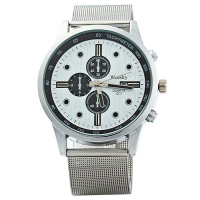 Weesky 1211 Men Quartz WatchMens Watches<br>Weesky 1211 Men Quartz Watch<br><br>Available Color: Black,White<br>Band material: Stainless Steel<br>Brand: Weesky<br>Case material: Stainless Steel<br>Clasp type: Pin buckle<br>Display type: Analog<br>Movement type: Quartz watch<br>Package Contents: 1 x Weesky 1211 Watch<br>Package size (L x W x H): 25 x 5.3 x 1.8 cm / 9.83 x 2.08 x 0.71 inches<br>Package weight: 0.116 kg<br>Product size (L x W x H): 24 x 4.3 x 0.8 cm / 9.43 x 1.69 x 0.31 inches<br>Product weight: 0.066 kg<br>Shape of the dial: Round<br>Special features: Date, Decorating small sub-dials<br>The band width: 2.0 cm / 0.79 inches<br>The dial diameter: 4.3 cm / 1.69 inches<br>The dial thickness: 0.8 cm / 0.31 inches<br>Watch style: Fashion<br>Watches categories: Male table<br>Wearable length: 16 - 21 cm / 6.3 - 8.27 inches