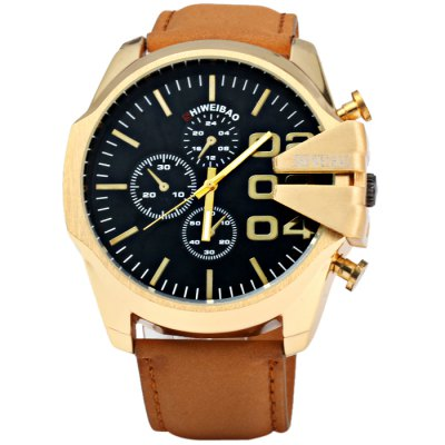 Shiweibao A1107 Golden Case Men Quartz WatchMens Watches<br>Shiweibao A1107 Golden Case Men Quartz Watch<br><br>Available Color: Black,White<br>Band material: Leather<br>Brand: Shiweibao<br>Case material: Stainless Steel<br>Clasp type: Pin buckle<br>Display type: Analog<br>Movement type: Quartz watch<br>Package Contents: 1 x Shiweibao A1107 Watch<br>Package size (L x W x H): 28 x 6.3 x 2.3 cm / 11.00 x 2.48 x 0.90 inches<br>Package weight: 0.136 kg<br>Product size (L x W x H): 27 x 5.3 x 1.3 cm / 10.61 x 2.08 x 0.51 inches<br>Product weight: 0.086 kg<br>Shape of the dial: Round<br>Special features: Decorating small sub-dials<br>The band width: 2.2 cm / 0.87 inches<br>The dial diameter: 5.3 cm / 2.08 inches<br>The dial thickness: 1.3 cm / 0.51 inches<br>Watch style: Fashion<br>Watches categories: Male table<br>Wearable length: 19 - 23 cm / 7.48 - 9.06 inches