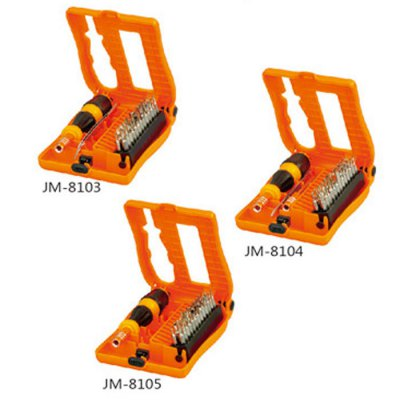 Jakemy JM-8103 28 in 1 Screwdriver SetScrewdriver &amp; Screwdriver Set<br>Jakemy JM-8103 28 in 1 Screwdriver Set<br><br>Brand: Jakemy<br>Model: JM-8103<br>Optional Color: Orange<br>Package Contents: 1 x Screwdriver, 1 x Tweezer, 26 x Bit, 1 x Tool Box<br>Package size (L x W x H): 15.5 x 9 x 3.5 cm / 6.09 x 3.54 x 1.38 inches<br>Package weight: 0.255 kg<br>Product size (L x W x H): 14 x 8 x 2.5 cm / 5.50 x 3.14 x 0.98 inches<br>Product weight: 0.155 kg<br>Screw Head Type: All-in-One<br>Special function: Repair<br>Steel Material  : CRV Steel