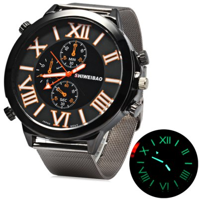 Shiweibao A3168 Male Quartz WatchMens Watches<br>Shiweibao A3168 Male Quartz Watch<br><br>Available Color: White,Blue,Orange<br>Band material: Stainless Steel<br>Brand: Shiweibao<br>Case material: Stainless Steel<br>Clasp type: Pin buckle<br>Display type: Analog<br>Movement type: Quartz watch<br>Package Contents: 1 x Shiweibao A3168 Watch<br>Package size (L x W x H): 27 x 7 x 2 cm / 10.61 x 2.75 x 0.79 inches<br>Package weight: 0.15 kg<br>Product size (L x W x H): 26 x 6 x 1 cm / 10.22 x 2.36 x 0.39 inches<br>Product weight: 0.010 kg<br>Shape of the dial: Round<br>Special features: Decorating small sub-dials<br>Style elements: Big dial<br>The band width: 2.4 cm / 0.94 inches<br>The dial diameter: 6.0 cm / 2.36 inches<br>The dial thickness: 1.0 cm / 0.39 inches<br>Watch style: Fashion<br>Watches categories: Male table<br>Wearable length: 17.5 - 22 cm / 6.89 - 8.66 inches