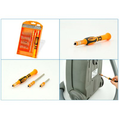 JAKEMY JM- 8110 33 in 1 Screwdriver KitScrewdriver &amp; Screwdriver Set<br>JAKEMY JM- 8110 33 in 1 Screwdriver Kit<br><br>Certificate: CE<br>Model: JM- 8110<br>Optional Color: Yellow<br>Package Contents: 30 x Screwdriver Bit, 1 x Plastic Handle, 1 x 60mm Extension Rod, 1 x 100mm Extension Rod<br>Package size (L x W x H): 20.00 x 13.00 x 4.00 cm / 7.87 x 5.12 x 1.57 inches<br>Package weight: 0.275 kg<br>Product size (L x W x H): 19.00 x 12.00 x 2.00 cm / 7.48 x 4.72 x 0.79 inches<br>Product weight: 0.200 kg<br>Screw Head Type: Slotted, Special, Torx, Hex, Cross<br>Special function: Repairing Tool<br>Steel Material  : Chrome Vanadium Steel