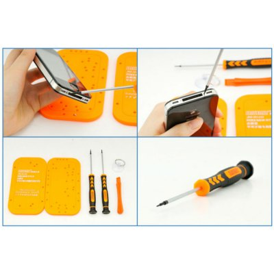 JAKEMY JM-8120 6 in 1 Screwdriver Kit Repair ToolScrewdriver &amp; Screwdriver Set<br>JAKEMY JM-8120 6 in 1 Screwdriver Kit Repair Tool<br><br>Brand: JAKEMY<br>Certificate: CE<br>Model: JM-8120<br>Optional Color: Assorted Colors<br>Package Contents: 2 x Screwdriver, 1 x Plastic Stick Opener, 2 x Fixed Plate, 1 x Suction Cup<br>Package size (L x W x H): 26 x 23 x 4 cm / 10.22 x 9.04 x 1.57 inches<br>Package weight: 0.180 kg<br>Product size (L x W x H): 25 x 22 x 3 cm / 9.83 x 8.65 x 1.18 inches<br>Product weight: 0.120 kg<br>Screw Head Type: Torx, Cross<br>Special function: Repairing Tool<br>Steel Material  : Chrome Vanadium Steel