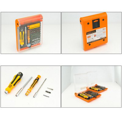 Jakemy JM-6110 72 in 1 Screwdriver SetScrewdriver &amp; Screwdriver Set<br>Jakemy JM-6110 72 in 1 Screwdriver Set<br><br>Brand: Jakemy<br>Model: JM-6110<br>Optional Color: Orange<br>Package Contents: 2 x Screwdriver, 61 x Bit, 7 x Socket, 2 x Extansion Bar, 1 x Tool Box<br>Package size (L x W x H): 20 x 18 x 15 cm / 7.86 x 7.07 x 5.90 inches<br>Package weight: 1.06 kg<br>Product size (L x W x H): 19 x 17 x 14 cm / 7.47 x 6.68 x 5.50 inches<br>Product weight: 1.000 kg<br>Screw Head Type: All-in-One<br>Special function: Repair<br>Steel Material  : Chromium-vanadium Alloy Steel