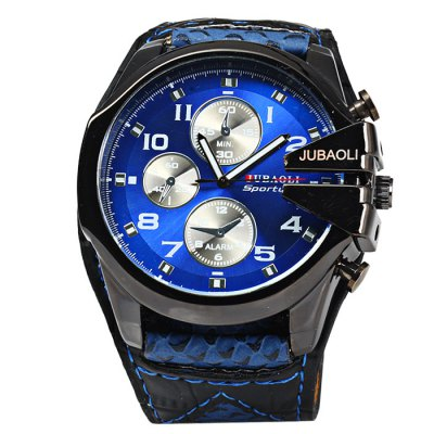 Jubaoli Big Dial Men Quartz WatchMens Watches<br>Jubaoli Big Dial Men Quartz Watch<br><br>Available Color: Black,Red,Blue,Orange<br>Band material: Leather<br>Brand: Jubaoli<br>Case material: Stainless Steel<br>Clasp type: Pin buckle<br>Display type: Analog<br>Movement type: Quartz watch<br>Package Contents: 1 x Jubaoli Watch<br>Package size (L x W x H): 25 x 6.2 x 2.5 cm / 9.83 x 2.44 x 0.98 inches<br>Package weight: 0.134 kg<br>Product size (L x W x H): 24 x 5.2 x 1.5 cm / 9.43 x 2.04 x 0.59 inches<br>Product weight: 0.084 kg<br>Shape of the dial: Round<br>Special features: Decorating small sub-dials<br>The band width: 3.0 cm / 1.18 inches<br>The dial diameter: 5.2 cm / 2.04 inches<br>The dial thickness: 1.5 cm / 0.59 inches<br>Watch style: Fashion<br>Watches categories: Male table<br>Wearable length: 17.5 - 21cm / 6.89 - 8.27 inches