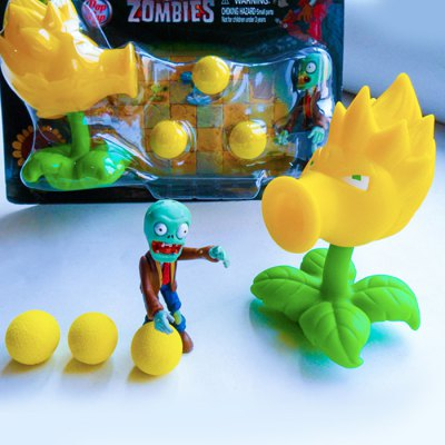 Peashooter PVZ Shooter Son Gokou Educational Toy Safe Game Plant + Zombie + 3 Ball Set