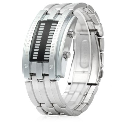 Date Binary Digital LED Bracelet Watch for Men with Two Lines LED DisplayCouples Watches<br>Date Binary Digital LED Bracelet Watch for Men with Two Lines LED Display<br><br>Available Color: Black,Silver<br>Band material: Alloys<br>Case color: Black,Silver<br>Case material: Stainless Steel<br>Clasp type: Folding clasp with safety<br>Display type: Digital<br>Movement type: Light table<br>Package Contents: 1 x Male Binary LED Watch<br>Package size (L x W x H): 28.40 x 5.00 x 3.40 cm / 11.18 x 1.97 x 1.34 inches<br>Package weight: 0.2140 kg<br>Product size (L x W x H): 26.40 x 3.00 x 1.40 cm / 10.39 x 1.18 x 0.55 inches<br>Product weight: 0.1440 kg<br>Shape of the dial: Rectangle<br>Special features: Light, Month, Date<br>Style elements: LED<br>The band width: 2.3 cm / 0.91 inches<br>The dial diameter: 3 cm / 1.18 inches<br>The dial thickness: 1.4 cm / 0.55 inches<br>Watch style: LED<br>Watches categories: Male table<br>Water resistance : 30 meters