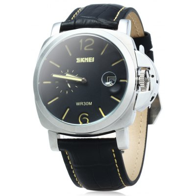 SKMEI 1124 30M Water Resistant Men Quartz Watch with Leather Strap