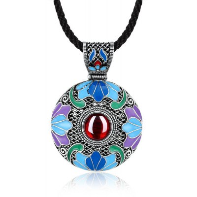 N007-B Round Diamond National Style Necklace for Women