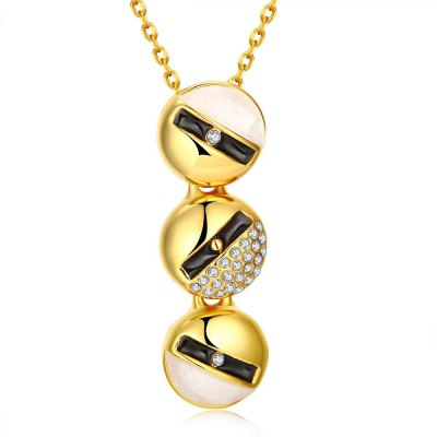 N922-B 24K Gold Plated Long Style Circle Pendant Necklace