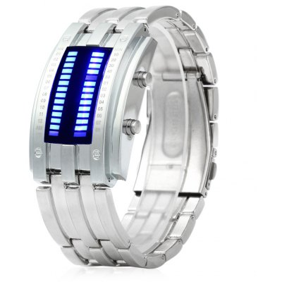 Date Binary Digital LED Bracelet Watch for Men with Two Lines LED Display