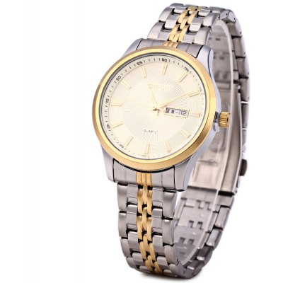 WeiQin W00120 Male Calendar Steel Quartz Watch with Luminous Pointers