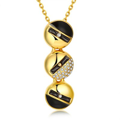 N922-A 24K Gold Plated Long Style Circle Pendant Necklace