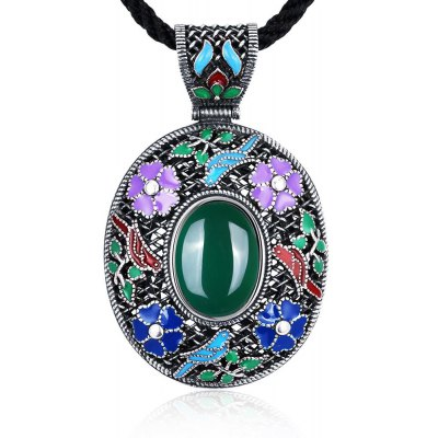 N017-C Antique Geometric Pattern National Style Women Necklace