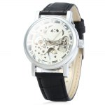 SEWOR Men Hollow Mechanical Watch with Leather Strap