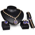 Faux Sapphire Water Drop Necklace Ring Bracelet and Earrings