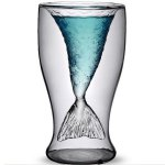 Cool Transparent Double-Layered Fishtail Design 300ml Glass Cup