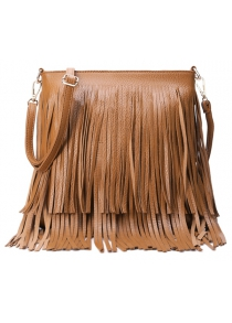 Trendy Fringe and Pure Color Design Women's Crossbody Bag