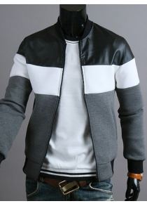 Classic Color Block PU Leather Spliced Rib Hem Stand Collar Long Sleeves Men's Slimming Jacket