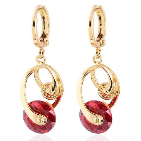 Pair of Graceful Colored Faux Gemstone Irregular Shape Earrings For Women