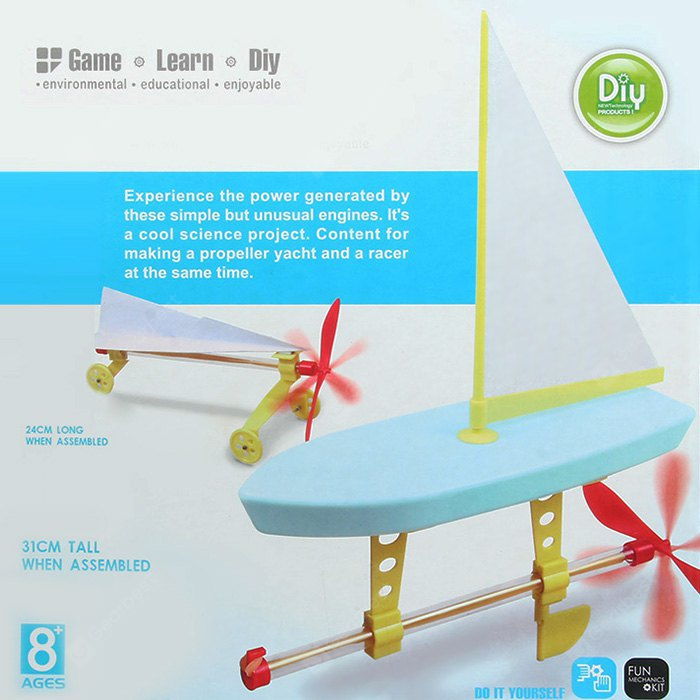 CUTESUNLIGHT Rubber Band Powered Propeller Engines Intelligent Toy DIY Fun Game IQ Training No.2131-6.76 Online Shopping GearBest.com