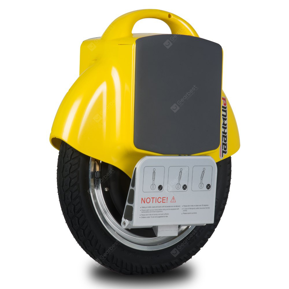Pinwheel T1 350W Motor Power Electric Unicycle 180WH Multi - functional Scooter Bicycle IP65 Waterproof Function Charger YELLOW EU PLUG
