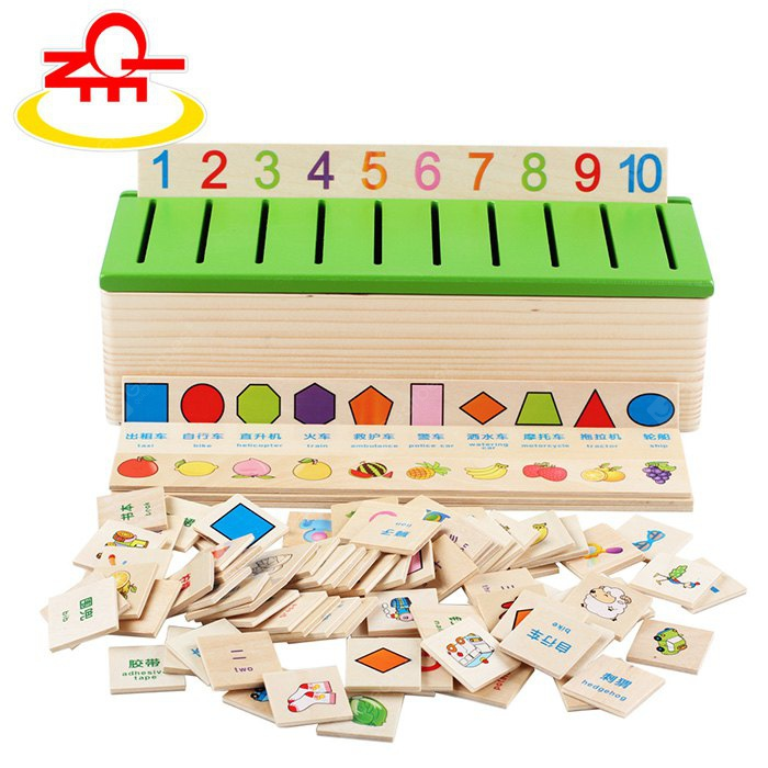 QZM Early Learning Wooden Classification Box Card Sorting Toy Improving Creativity