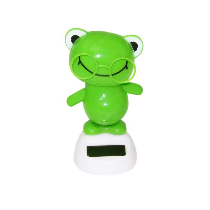 Solar Shaking Frog with Glasses Environment-friendly Ornamentation