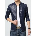 Buy Laconic Stand Collar Multi-Zipper Special Shoulder Long Sleeves Slimming Men's PU Leather Jacket XL