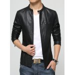 Buy Laconic Stand Collar Multi-Zipper Special Shoulder Long Sleeves Slimming Men's PU Leather Jacket M
