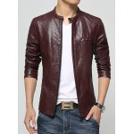 Buy Laconic Stand Collar Multi-Zipper Special Shoulder Long Sleeves Slimming Men's PU Leather Jacket 3XL