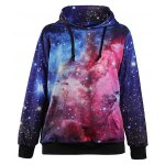 Buy Stylish Hooded Starry Sky Printed Trippy Pullover Hoodie Women M COLORMIX