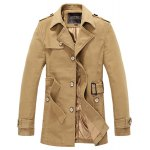 Buy Turn-Down Collar Belt Design Solid Color Slimming Long Sleeve Men's Coat 3XL