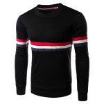 Round Neck Slimming Colorful Stripe Embellished Long Sleeve Men's T-Shirt