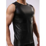 cheap Round Neck Sexy Close-Fitting Sleeveless Men's PU-Leather Tank Top
