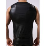 Round Neck Sexy Close-Fitting Sleeveless Men's PU-Leather Tank Top for sale