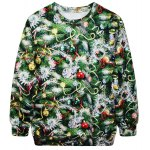 Buy Stylish Round Neck Long Sleeve Bell Tree Print Women's Christmas Sweatshirt GREEN