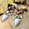 Pair of Noble Faux Crystal Artificial Gemstone Irregular Earrings For Women photo