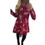cheap Round Collar Long Sleeve Deer Print A-Line Women Christmas Swing Dress