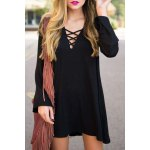 Sexy V-Neck Long Sleeve Black Lace-Up Loose-Fitting Women's Dress